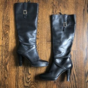 Cole Haan black tall boots.